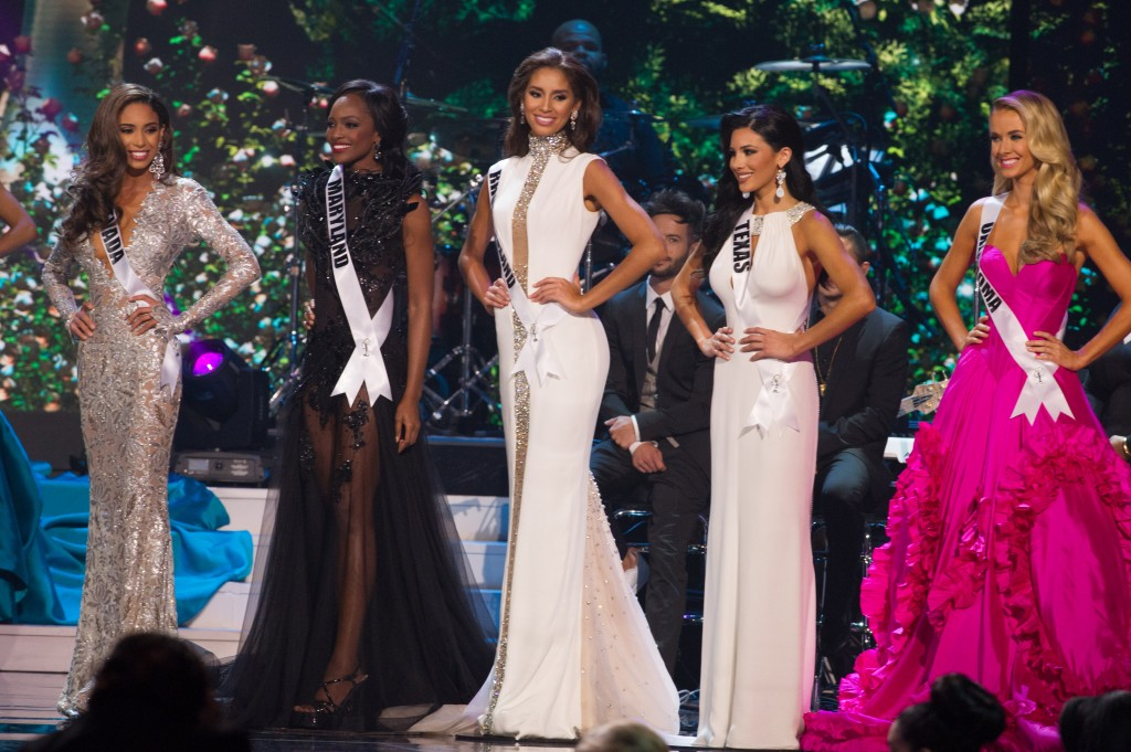 Brittany McGowan, Miss Nevada USA 2015; Mame Adjei, Miss Maryland USA 2015; Anea Garcia, Miss Rhode Island USA 2015; Ylianna Guerra, Miss Texas USA 2015; Ylianna Guerra, Miss Texas USA 2015; and Olivia Jordan, Miss Oklahoma USA 2015; are announced as the top 5 finalists during the 2015 MISS USA pageant at the Baton Rouge River Center on Sunday, July 12th. The 2015 Miss USA contestants are competing for the D.I.C. Crown in Baton Rouge, Louisiana during the live Reelz telecast at 8:00 PM ET on July 12, 2015. HO/Miss Universe Organization L.P., LLLP
