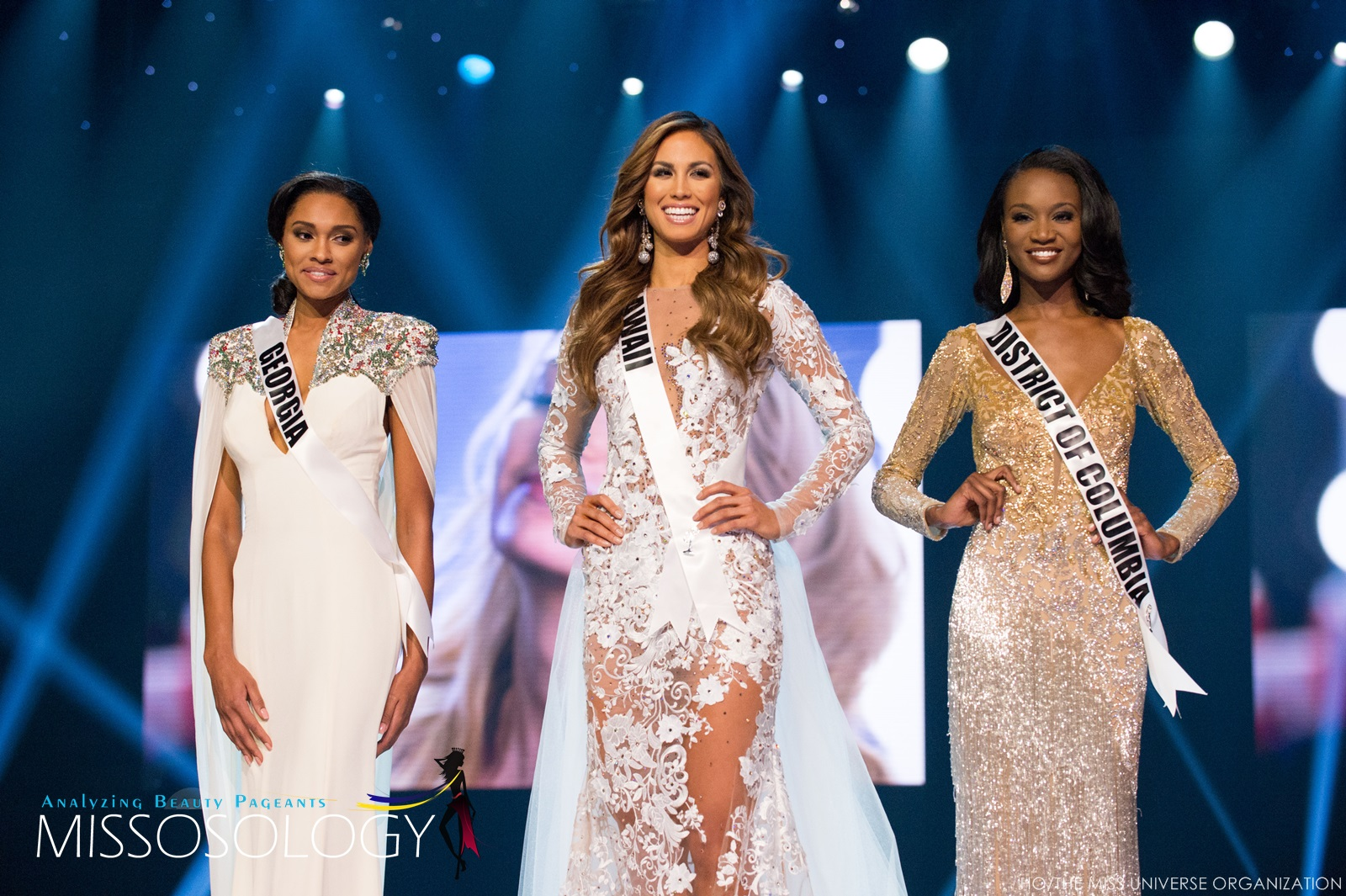 Emanii Davis, Miss Georgia USA 2016; Chelsea Hardin, Miss Hawaii USA 2016; and Deshauna Barber, Miss District Of Columbia USA 2016,  are announced as the top 3 finalists during the 2016 MISS USA® Competition airing live from the T-Mobile Arena in Las Vegas on FOX Sunday, June 5th. HO/The Miss Universe Organization